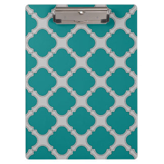 Quatrefoil teal and gray clipboard