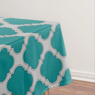 Quatrefoil teal and gray tablecloth