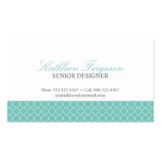 Quatrefoil teal blue clover modern pattern pack of standard business cards