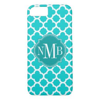 Quatrefoil Turquoise Pattern Monogram iPhone 8/7 Case