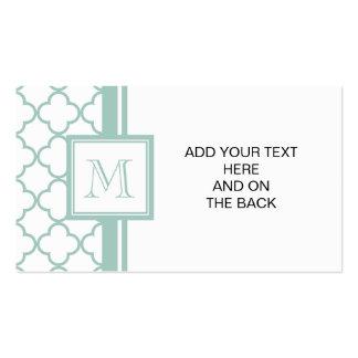 Quatrefoil vert et blanc en bon état votre monog cartes de visite professionnelles