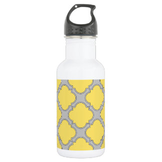 Quatrefoil yellow and gray 532 ml water bottle