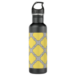 Quatrefoil yellow and gray 710 ml water bottle