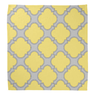 Quatrefoil yellow and gray bandana