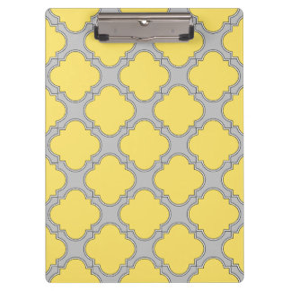 Quatrefoil yellow and gray clipboard