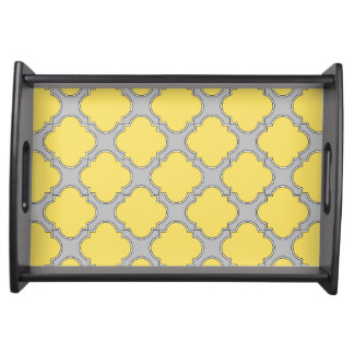 Quatrefoil yellow and gray serving tray