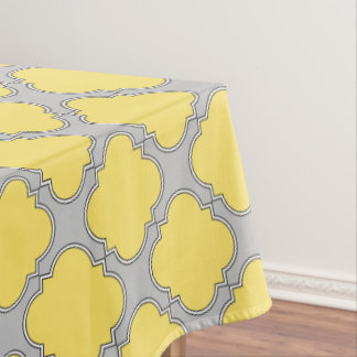 Quatrefoil yellow and gray tablecloth