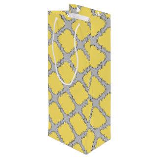 Quatrefoil yellow and gray wine gift bag