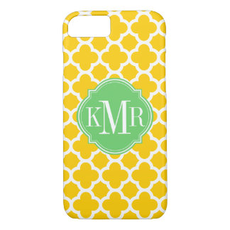 Quatrefoil Yellow and White Pattern Monogram iPhone 8/7 Case