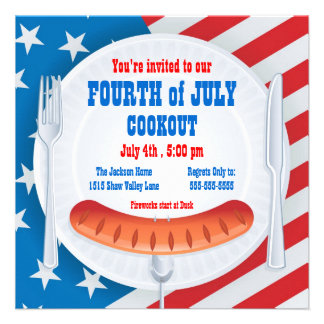Quatrième d invitation de barbecue de juillet