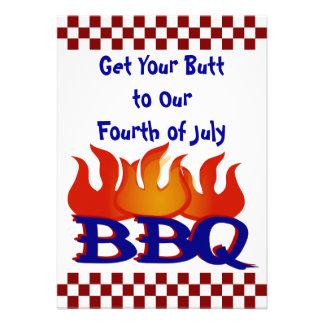 Quatrième d invitation de partie de BBQ de juillet