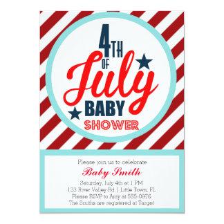 Quatrième de baby shower de juillet carton d'invitation  12,7 cm x 17,78 cm