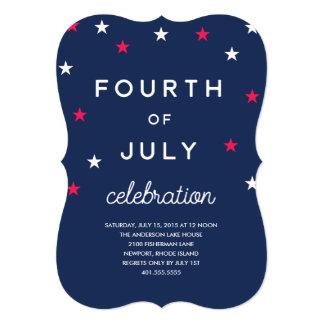 Quatrième de bannière étoilée de juillet carton d'invitation  12,7 cm x 17,78 cm