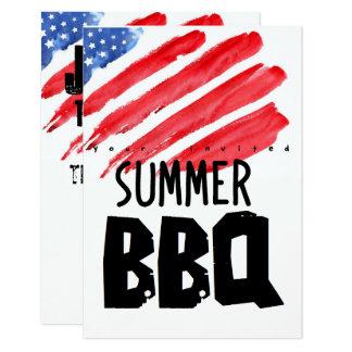 quatrième de barbecue coloré de juillet carton d'invitation 8,89 cm x 12,70 cm