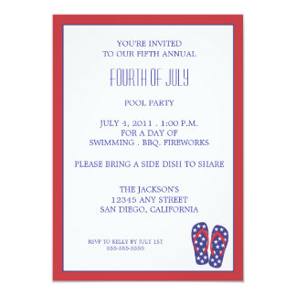 Quatrième de bascule électronique de juillet carton d'invitation  12,7 cm x 17,78 cm