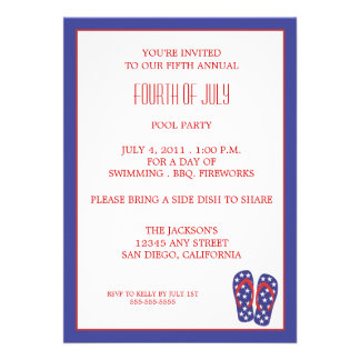 Quatrième de bascule électronique de juillet invitations personnalisées