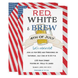 Quatrième de bière d'invitation de juillet carton d'invitation  12,7 cm x 17,78 cm