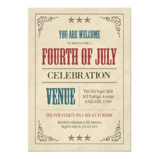 Quatrième de cru de célébration de juillet carton d'invitation  12,7 cm x 17,78 cm