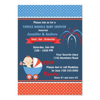 Quatrième de filles de baby shower de juillet carton d'invitation  12,7 cm x 17,78 cm