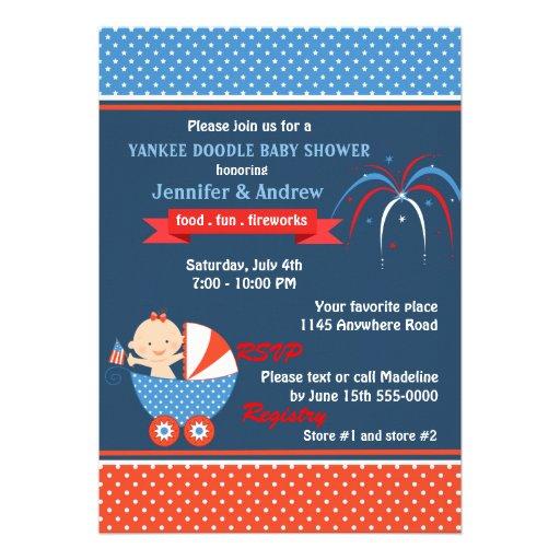 Quatrième de filles de baby shower de juillet invitation personnalisable