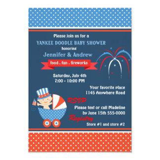 Quatrième de garçons de baby shower de juillet carton d'invitation  12,7 cm x 17,78 cm