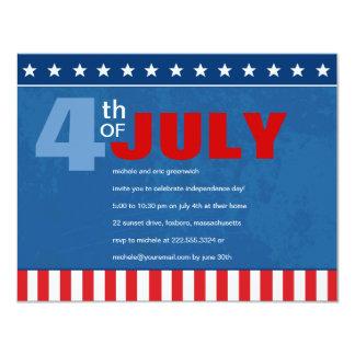 Quatrième de partie de juillet carton d'invitation 10,79 cm x 13,97 cm