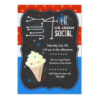 Quatrième de Social de crème glacée de juillet Carton D'invitation 12,7 Cm X 17,78 Cm