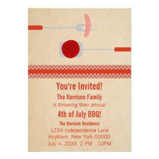 Quatrième d'été de juillet grillant l'invitation