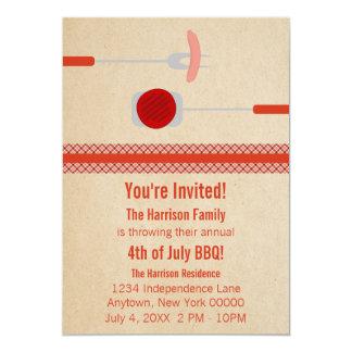 Quatrième d'été de juillet grillant l'invitation carton d'invitation  12,7 cm x 17,78 cm