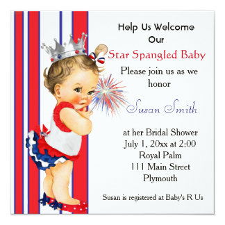 Quatrième d'invitation de baby shower de juillet carton d'invitation  13,33 cm