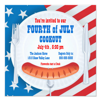 Quatrième d'invitation de barbecue de juillet carton d'invitation  13,33 cm