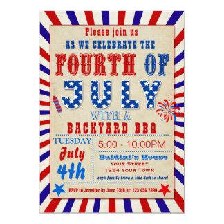 Quatrième d'invitation de BBQ de juillet Carton D'invitation 12,7 Cm X 17,78 Cm