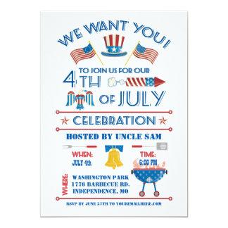 Quatrième d'invitation de célébration de juillet carton d'invitation  12,7 cm x 17,78 cm