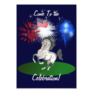 Quatrième d'invitation de cheval de juillet carton d'invitation  12,7 cm x 17,78 cm