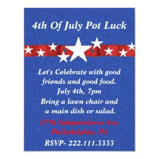 Quatrième d'invitation de partie de juillet carton d'invitation 10,79 cm x 13,97 cm