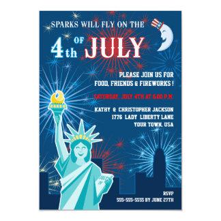 Quatrième d'invitation de partie de juillet carton d'invitation  12,7 cm x 17,78 cm