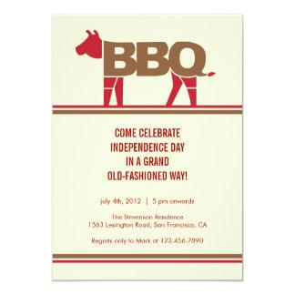 Quatrième d'invitation moderne de BBQ de juillet Carton D'invitation 12,7 Cm X 17,78 Cm