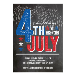 Quatrième patriotique de feux d'artifice carton d'invitation  11,43 cm x 15,87 cm