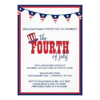 Quatrième patriotique d'invitation de bannières de