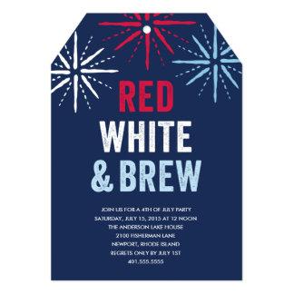 Quatrième rouge de blanc et de Brew de juillet Carton D'invitation 12,7 Cm X 17,78 Cm