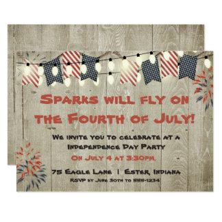 Quatrième rustique d'invitation de juillet carton d'invitation  12,7 cm x 17,78 cm