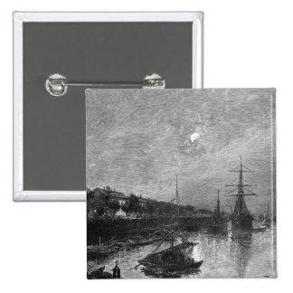 Quay at Hankou, 1893 2 Inch Square Button