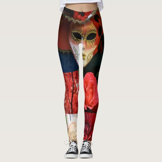 Que Essence Expressions Leggings-RED Abstract Art Leggings