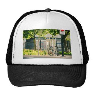 Quebec bike parking pavement trucker hat