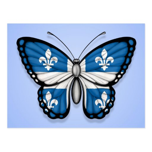 Quebec Butterfly Flag on Blue Postcard