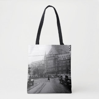 Quebec Canada Castle Cars Street 1930's Photo Tote Bag