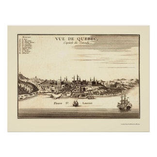 Québec, Canada Panoramic Map - 1755 Poster