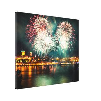 Quebec City   Bright Fireworks Canvas Print