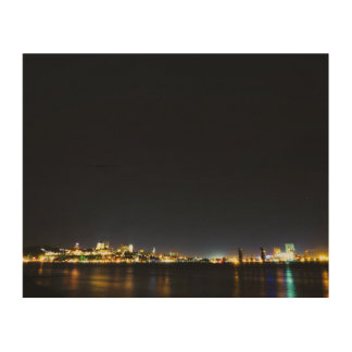 Quebec City During Night Wood Canvas