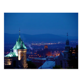 Quebec City Gate Overlook At Night Canada Postcard